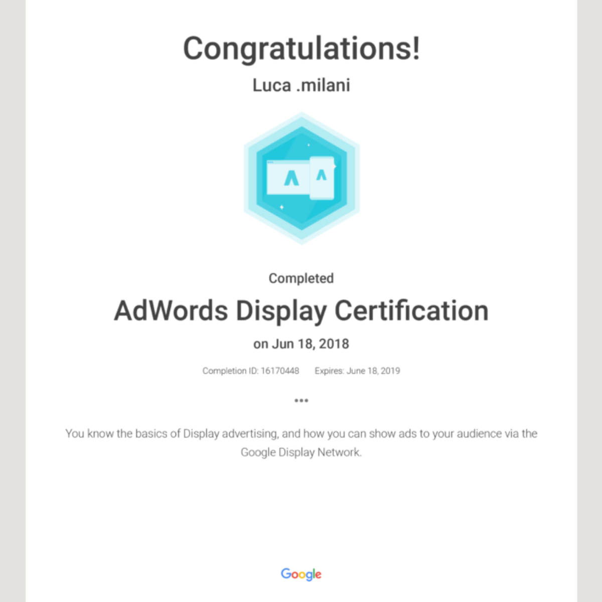 Ad Words Display Certification
